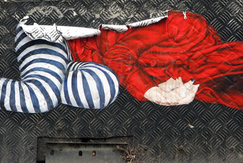 urban cake lady street art paste up artist all ...
